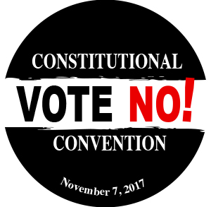 Constitutional Convention Vote No Button, Public Employees Federation, 2017-04-12