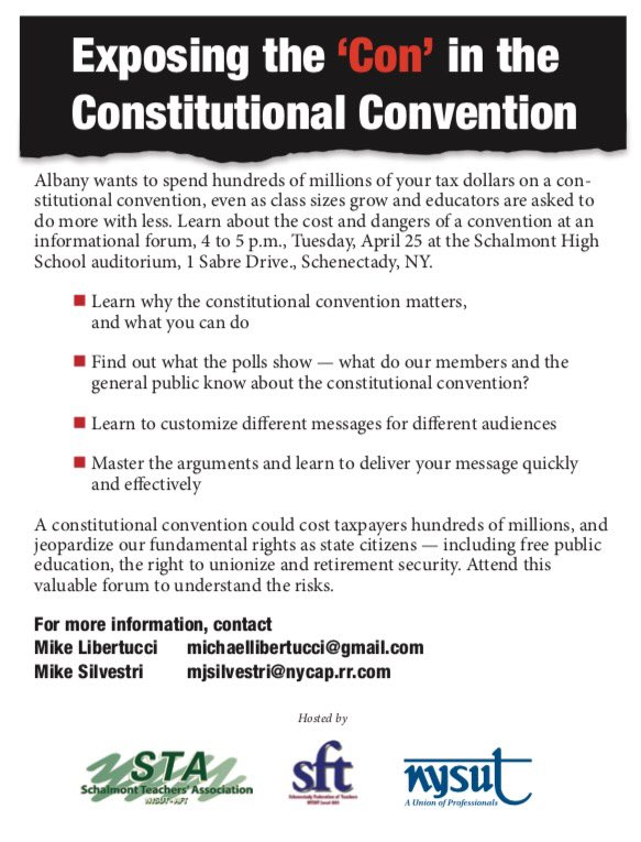 Exposing the 'Con' in the Constitutional Convention, NYSUT, 2017-04-19